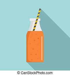 Mango smoothie icon, flat style
