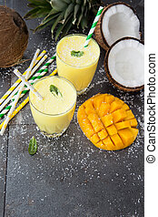 Mango Smoothie / Lassi with fresh coconut and mint