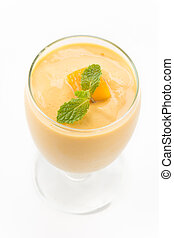 mango smoothie - fresh mango smoothie on white background