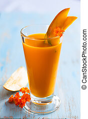 mango smoothie - Glass of fresh mango smoothie