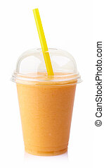 Mango smoothie - Glass of fresh mango smoothie isolated on...