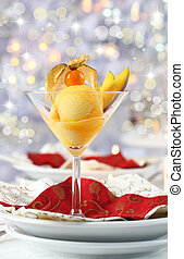 Mango and pineapple sorbet or ice cream for Christmas