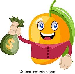 Mango with bag of money, illustration, vector on white background.