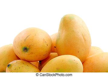Yellow nature mango fruit background .