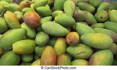 Mangoes sold in supermarket stock footage video