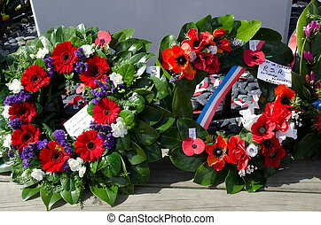 MANGONUI, NEW ZEALAND - APRIL 25 2012: Ceremonial wreaths during Anzac Day - War Memorial Service.