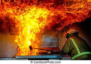 Firefighter - MANGONUI, NZ - APR 06:Firefighter demonstrates...