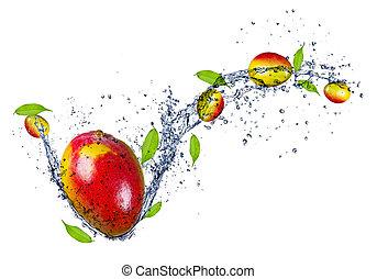 Mangos in water splash, isolated on white background