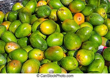 mango's, te koop, op, een, markt