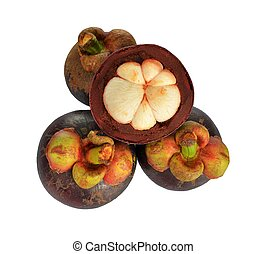Mangosteen and cross section showing the thick purple skin