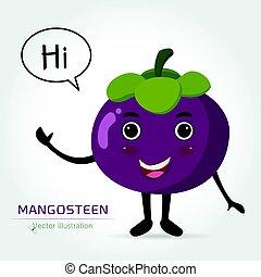 Mangosteen cartoon vector illustration