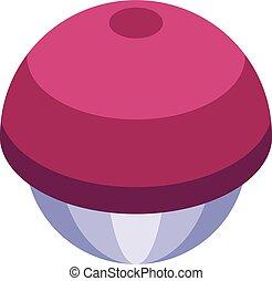 Mangosteen food icon, isometric style