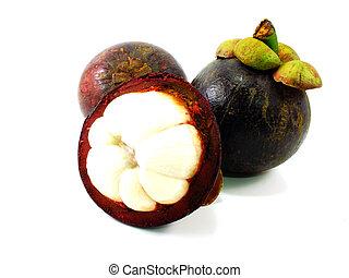 mangosteen fruit cut in half on white background