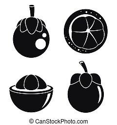 Mangosteen fruit icons set, simple style