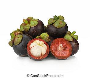 mangosteen fruit on white background