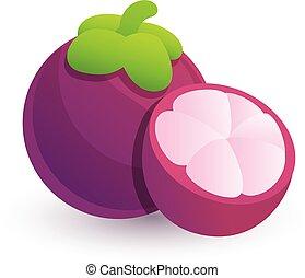 Mangosteen icon, cartoon style