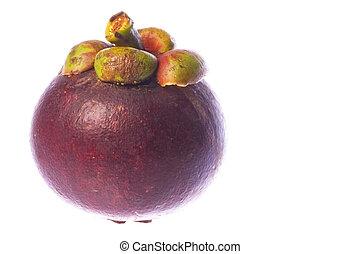 Isolated macro image of a mangosteen.