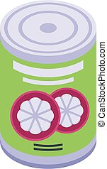 Mangosteen tin can icon, isometric style