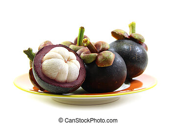 Mangosteens peel isolated on white background