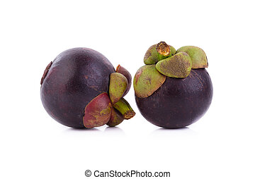 mangosteens, rijp, koningin, vrijstaand, fruit, achtergrond, vruchten, witte , mangosteen