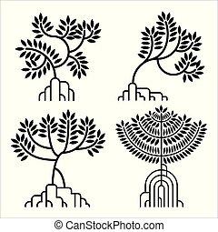 mangrove, ensemble, vecteur, silhouette, arbre