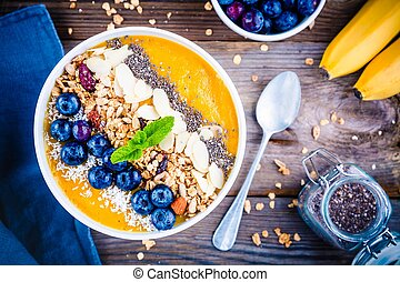 mangue, smoothies, bol, à, myrtilles, granola, chia, graines, et, amandes