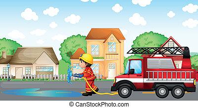manguera, bombero, fuego, espalda, camión, tenencia