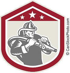 manguera, protector, bombero, fuego, bombero, retro