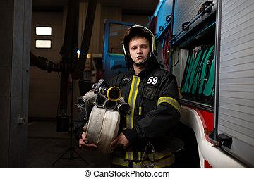 mangueras, fuego, foto, bombero, camión, plano de fondo, ...