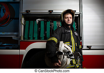 mangueras, fuego, imagen, bombero, camión, plano de fondo, ...
