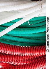 mangueras, rojo verde, cable, blanco