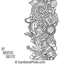 manhã, caricatura, doodles, rotina