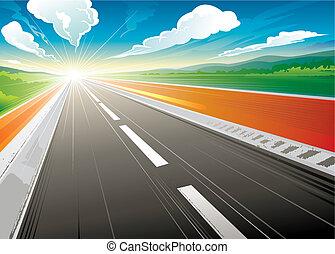 manhã, em, estrada