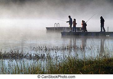 manhã, lago, névoa