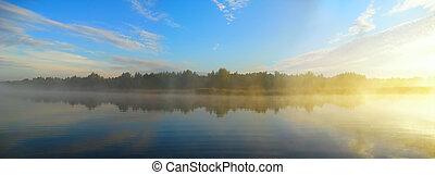 manhã, rio, antes de, pesca