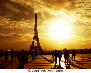 manhã, torre eiffel, -, paris