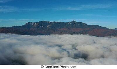 manhã, voando, zangão, paisagem, lago, montanha, sobre, ...