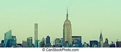 manhattan égvonal, panoráma, új york város