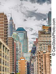 manhattan épület, új york város, -, ny megállapít, -, usa