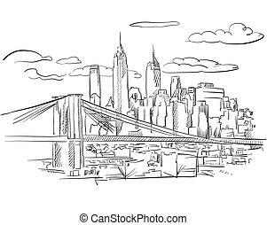 Manhattan and Brooklyn Bridge detailed Sketch, Hand drawn...
