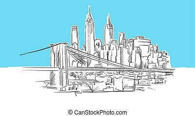 Manhattan And Brooklyn Bridge Skyline Panorama Vector...