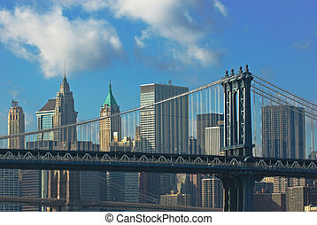 manhattan and brooklyn bridges, new york, usa