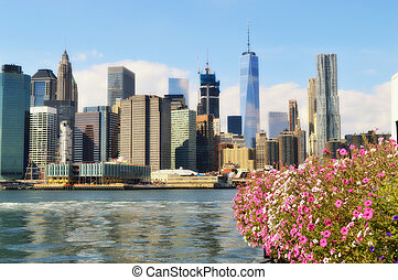 Manhattan and flowers.