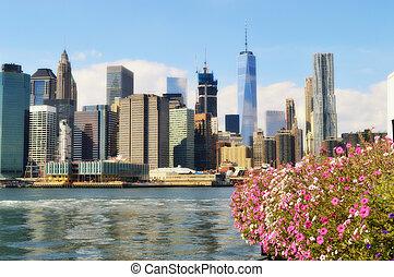 Manhattan and flowers.