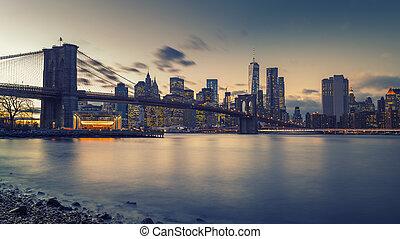 manhattan, anochecer, puente de brooklyn, río oriental