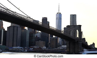 Manhattan at dusk viewed from the Brooklyn Bridge