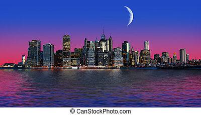 Manhattan at moon light. New York City skyline panorama