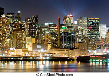 Manhattan at night - Panorama of New York city at nighttime