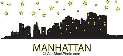 Manhattan at night - Yellow stars over the Manhattan.