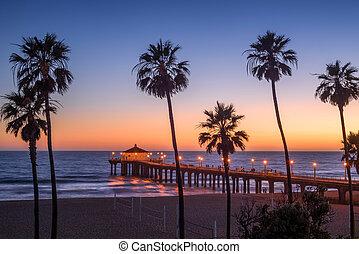 Manhattan Beach Pier at sunset, Los Angeles, California